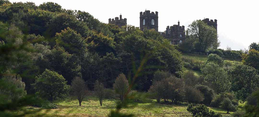 views to Riber Castle from Castle Green