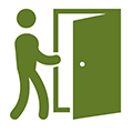 Icon of person opening door for check-in