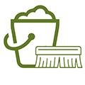 Cleaning icon bucket and brush