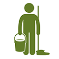 Housekeeper icon person with mop and bucket