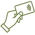 Icon of hand holding debit card